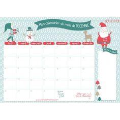 Calendrier Décembre 2015 à imprimer gratuitement chez http://www.fetesetmalices.com