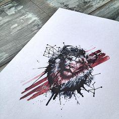 trash polka zentangles | Abstract trash polka lion/bull hybrid