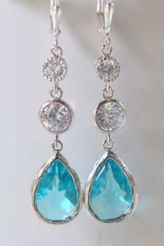Stunning Aquamarine Teardrop Long Dangle Earrings