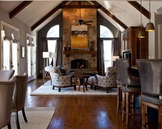 Family Room Outdoor Fireplace Design, Pictures, Remodel, Decor and Ideas - page 25 Fireplace Mantle Designs, Rustic Fireplace Mantle, Outdoor Fireplace Designs, Rustic Fireplaces, Floor Design, Ceiling Design, House Design, Wall Design, Family Room Decorating