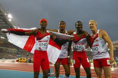 (L-R) Conrad Williams, Matthew Hudson-Smith, Michael Bingham and Daniel Awde of England