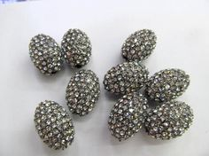 bling pave 100pcs 10x12mm Hematite Bead Pave Crystal Pave Rice
