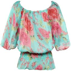 Gamiss Women's Elegant Floral Printed Sexy Off Shoulder Bat-wing... ❤ liked on Polyvore