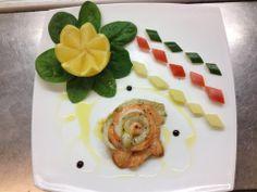 Rosa di branzino e salmone a vapore ed olio delle madonie