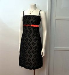 A Must Have Vintage 50's Black Lace Pink by Planetclairevintage, $98.00