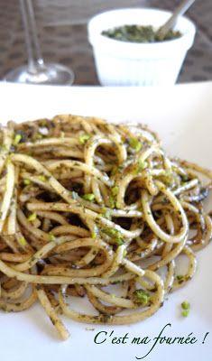 C'est ma fournée !: Spaghettis au pesto de menthe et à la pistache