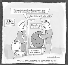 "Sometimes money is a more powerful motivator than common sense. (""AIG bean bag cartoon"" by sbwoodside, via Flickr.) 