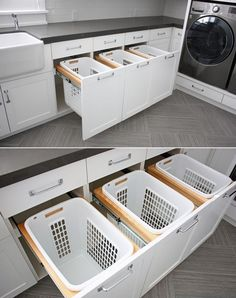 20 Stylish And Hidden Laundry Room Designs | Home Design And Interior Washing Machine, Laundry, Home Appliances, Cabinet, Storage, Furniture, Home Decor, Laundry Room, House Appliances