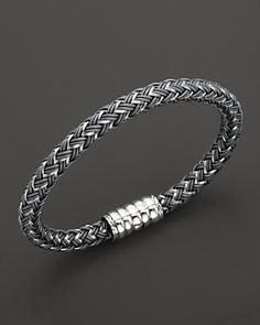 Sporty bracelet. John Hardy Men's Bedeg Silver Bracelet on Grey Nylon Cord.
