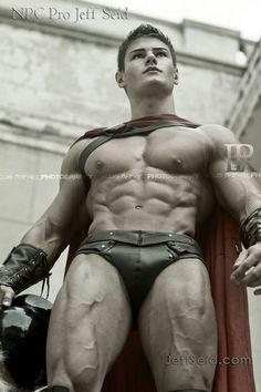 Jeff Seid as ripped Spartan Gay Halloween Costumes, Roman Gladiators, Jeff Seid, Greek Warrior, Hottest Guy Ever, Wet Dreams, Male Form, Cute Gay, Male Beauty