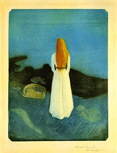 Young Girl on Shore, 1896  Lithograph  28.2 x 21.7 cm.  My first Munch print. My grandmother bought me a print from Oslo.
