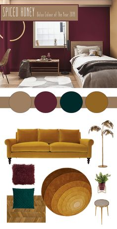How To Use Spiced Honey - Dulux's Colour Of The Year 2019 - The Interior Editor Interior Design Living Room, Living Room Designs, Living Room Decor, Bedroom Decor, Design Interior, Dining Room, Bedroom Color Schemes, Bedroom Colors, Interior Colour Schemes