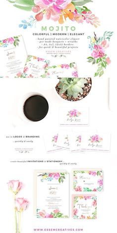 Mojito - Watercolor Clipart Bundle. Watercolor Flowers Clipart, Floral Watercolor Wedding Invitation Clip art, Floral Logo & Business Cards, Magenta Pink Peonies, Floral Wreath Graphics, Soft, Minimalist, Feminine, Elegant.. A set of hand-painted floral watercolor clipart, bouquets, background and borders. The watercolors have been painted in a soft, colorful & modern style
