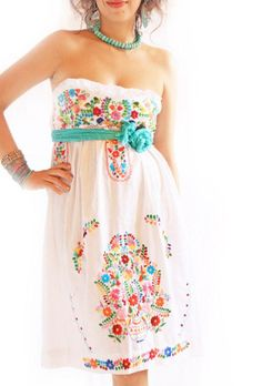 Beautiful embroidered Mexican dress