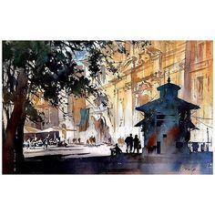 Viale di Trastevere #trastevere #rome #italy #workshop #pleinair #pleinairartist #watercolorartist #watercolor #holbeinwatercolors #houseofhoffman #danielsmith #art #escoda #artsavoirfaire #artistsnetwork #thomaswschaller