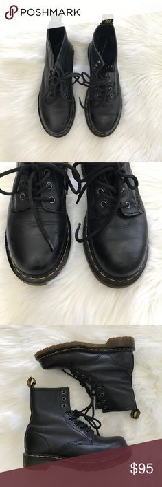 Dr. Martens Black Leather Boots Nappa 1460 Dr. Martens, Docs, Nappa Black classic boots. Size 7. Well worn and loved but great condition. Pull straps in tact. Normal leather wear and fading (see closeups). They've never been treated or cleaned but, I believe with a little TLC these will be like new! Make an offer🙂  Let me know if you have any questions! Thanks you! 💞 Dr. Martens Shoes Combat & Moto Boots
