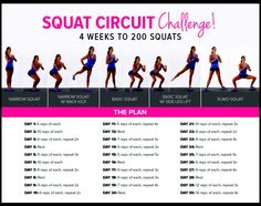 30 Day Squat Circuit Challenge - 4 weeks to 200 squats #fitness #exercises #workout