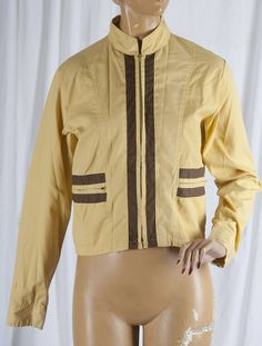 1970s, Racer style, short , summer jacket, yellow and brown. BJ and the Bear, Nascar, ladies, racing stripes, full zip by TessiesOldOddities on Etsy