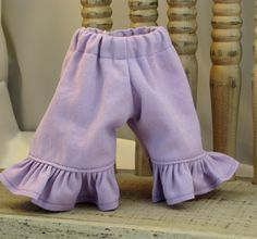 Lilac Ruffle Jeans for 10 and 11 inch Dolls by sistersdollclothes, $7.00