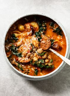One-Bowl Chorizo Chickpea Stew with Greens: A delicious, nourishing one-bowl meal that you can make in 30 minutes flat. #dinner #glutenfree #easy #tasty #chickpea #stew #soup #healthy