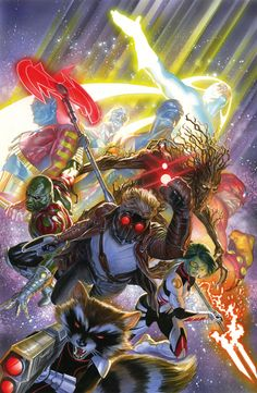Alex Ross SIGNED Guardians of the Galaxy Giclee on Canvas Limited Edition of 75