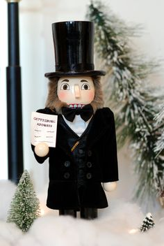 538e637854e9d Lincoln, in his signature Black 3 piece suit, with bow tie and top hat, as  a Nutcracker. Includes gold nameplate on front which states