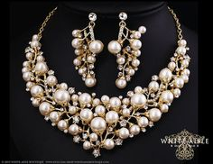 Gold Pearl Bridal Jewelry Set Pearl by WhiteAisleBoutique on Etsy