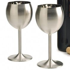 I'd never have to worry about breaking them. Non Alcoholic Wine, Wine Drinks, Wine Glass Rack, Wine Rack, Fun Wine Glasses, Spanish Wine, Cooking Wine, Have Metal, Kitchen Gadgets