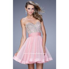 Short La Femme 21202 Cotton Candy Pink Beaded Homecoming Dress ($199) via Polyvore featuring dresses, pink dress, short homecoming dresses, short dresses, short cotton dress and pink homecoming dresses