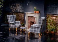 All Weather Outdoor Wing Chairs with matching footstool #waterproof #vintage #wing #interiors #outside #design