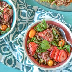 Packed with fruits and vegetables, this simple quinoa chicken salad is filled with the best flavors of summer. Perfect as a main or side dish!
