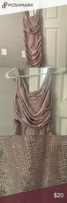 Express shimmery rouched dress Shimmery champagne/mauve rouched Express dress. Size 8. Excellent condition Express Dresses