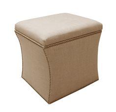 Skyline Furniture Nail Button Storage Ottoman in Linen, Sandstone - Amazon.com :: $168