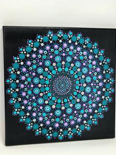 Original Mandala Painting on Canvas Dotilism Dot Painting