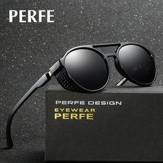 6792bb7dd R$ 43.73 48% de desconto|PERFE Marca Designer de Moda Vintage Personalidade  HD Óculos de Sol Redondos Oco Steampunk Polarizada Óculos De Sol Para Homens  ...