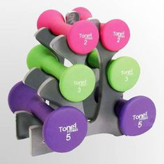 Dumbbells Set Neoprene 20lbs 3 Pairs Set A Frame Rack Body Training Fitness #DumbbellsSet
