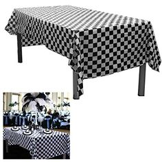 6 Black And White Checkered Plastic Tablecloths. Measures X Disposable Plastic Party Table Covers - Racing Party Decoration. Each Table Cover Is Individually Packaged For Later Use. Picnic Table Covers, Plastic Table Covers, Plastic Tablecloth, Tablecloths, Checkered Tablecloth, Construction Theme Party, Car Themed Parties, Race Party, Outdoor Furniture