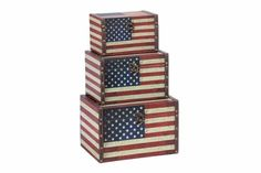 "Wood Leather Box Set Of 3 With Us Flag Colors.  If You Are Left With Small Space In Your Room And You Want To Use This Space Purposely, Have A Look Over 72196 Wood Leather Box A Set Of Three Boxes. Get This Amazing Art And Flaunt Your Interior Decor In Style..  Measures 11"" x 8"" x 7"" . Some assembly required."