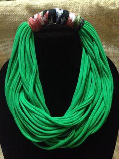 Green Neklace, Multi Strand, Cotton T-Shirt, No Metal,Elegant, Handmade, Made USA, Soft. by Rellia on Etsy