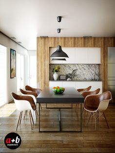 Wood flooring and leather lined chairs give this dining room a rustic appeal without sacrificing luxury.