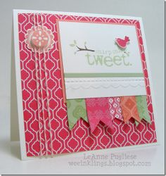 """mixed it with a couple of the other new In Colors, Pistachio Pudding and Crisp Cantaloupe, to make my 4 1/4"""" square card.  The banners were stamped with images from Mosaic Madness, and the circular element is from A Round Array and Mosaic Madness.  The bird image is from Animal Talk"""