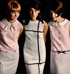 Colleen Corby (center) in Gay Gibson, 1966 60s And 70s Fashion, Mod Fashion, Fashion Photo, Vintage Fashion, Sporty Fashion, Color Fashion, Fashion Tips, Colleen Corby, 1960s Dresses