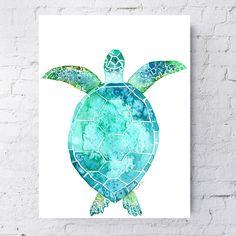 Turtle art, Blue turtle, sea creature painting, wall art, canvas art, sea animal art, nursery art