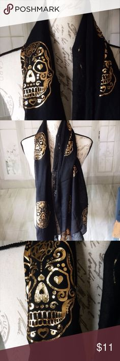 Black Gold Sugar Skull Scarf NWT Charming Charlie Lightweight scarf with gold foil details. NWT. Charming Charlie Accessories Scarves & Wraps
