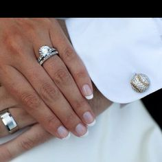 Our wedding rings and his baseball cuff links