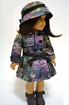 Parisian Watercolor Trench Raincoat Set by Dollhouse by DollhouseDesigns for American Girl doll of the year Grace Thomas GOTY 2015 Thomas Kinkaid fabric (sewn from Sophie Clareese & Kotton Candy patterns) #pixiefaire