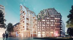 Manuelle Gautrand Designs Futuristic Housing Block for Amsterdam,Hyde Park Residence. Image Courtesy of Romain Ghomari Amsterdam Images, Green Terrace, Glazed Brick, Contemporary Building, Architecture Images, Residential Complex, Local Architects, Hyde Park, Building Design