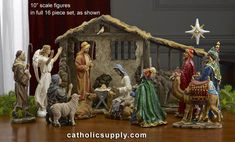 "10"" Scale Figure Nativity Set with Stable  What makes this set unique: Each King's box opens to display the REAL gifts! 16 piece set with REAL gifts of Gold, Frankincense and Myrrh from the Three Wisemen! The dramatic realism and true elements like real gold, frankincense and myrrh make an heirloom that will be a source of meaningful joy for many years. Removable Jesus can lie in Mary's arms or swaddled in the manger. Each set comes complete with a Certificate that certifies that the gold is…"