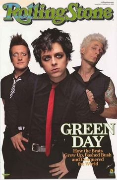 A classic Green Day poster! Billie Joe Armstrong, Mike Dirnt, and Tre Cool on the cover of Rolling Stone Magazine! Published in 2005. Fully licensed. Ships fast. 22x34 inches. Check out the rest of ou