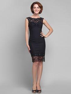 Sheath/Column Plus Sizes Mother of the Bride Dress - Black Knee-length Sleeveless Chiffon/Tulle - USD $89.99